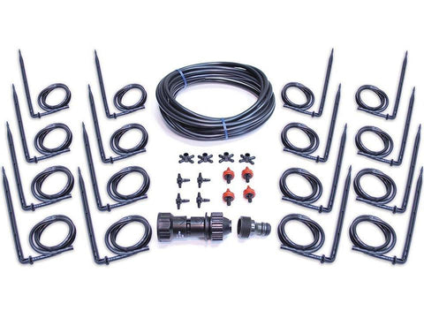 Drip Irrigation Kit with white background and all pieces shown for Hobby Greenhouse kits
