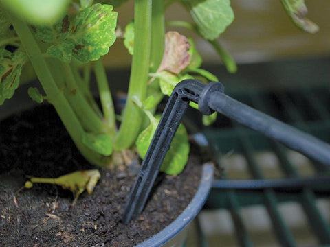 Image of Drip Irrigation Kit close up with green plant background for Hobby Greenhouse kits