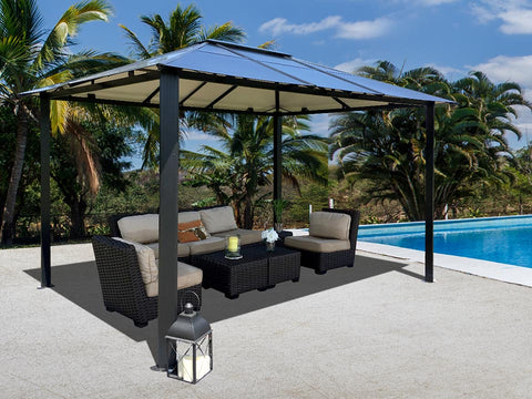 Durham 10x13 Hard Top Gazebo with a living area set beside the pool