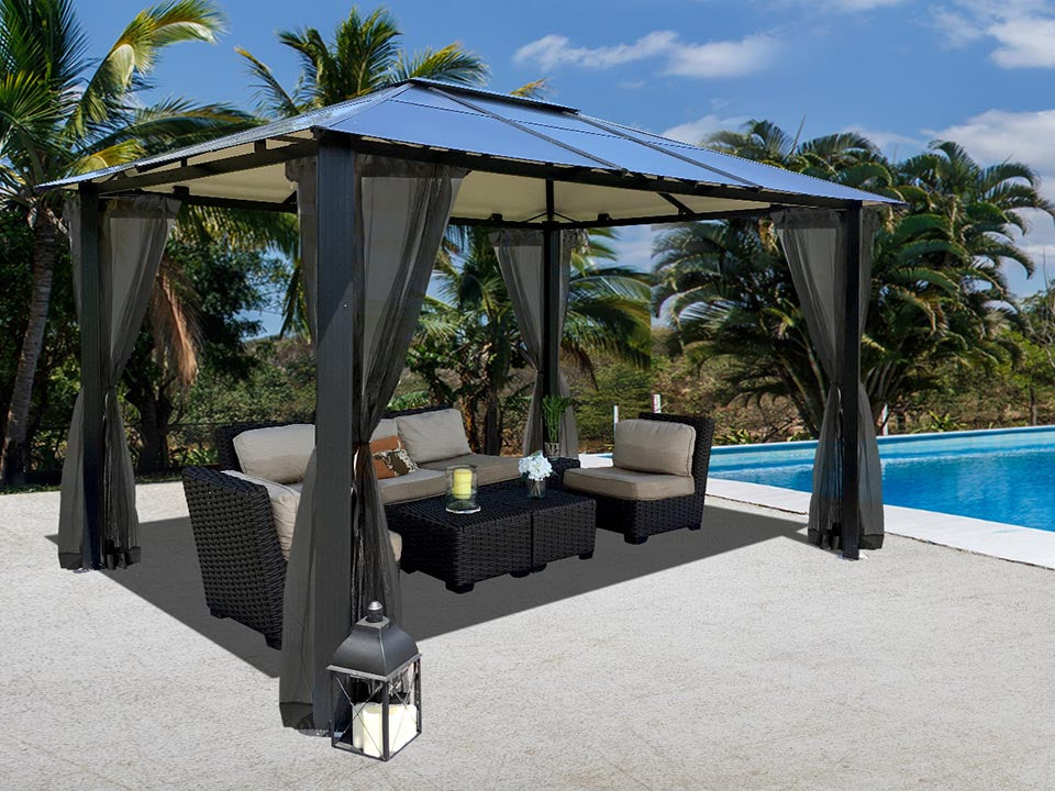 Durham 10x13 Hard Top Gazebo with Open Mosquito Netting