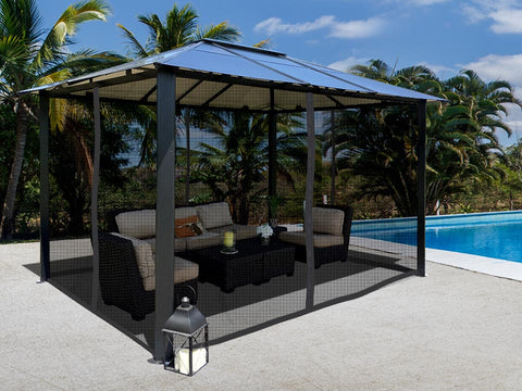 Durham 10x13 Hard Top Gazebo with Closed Mosquito Netting
