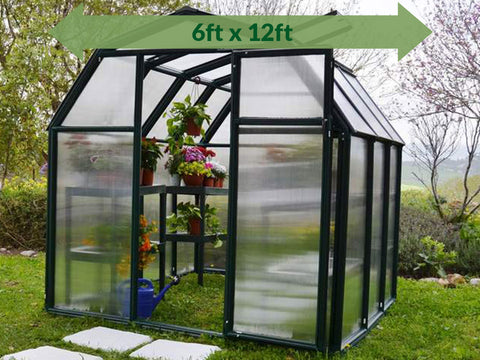 Image of Rion 6ft x 12ft EcoGrow 2 Twin-Wall Greenhouse - HG7012 - full view - green arrow on top - in a garden
