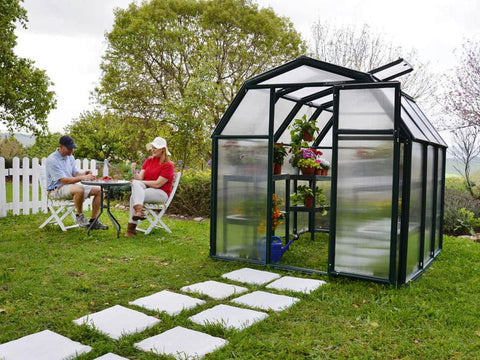 Image of Rion 6ft x 12ft EcoGrow 2 Twin-Wall Greenhouse - HG7012 - full view - open door - in a garden