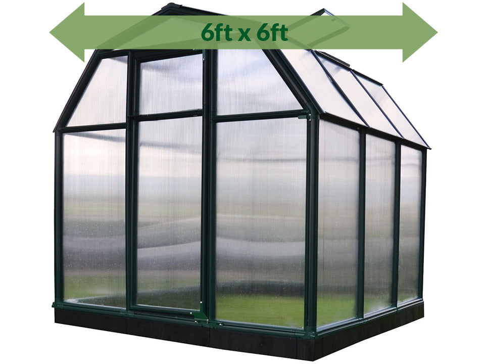 Rion 6ft x 6ft EcoGrow 2 Twin-Wall Greenhouse - HG7006 - full view - green arrow on top - white background