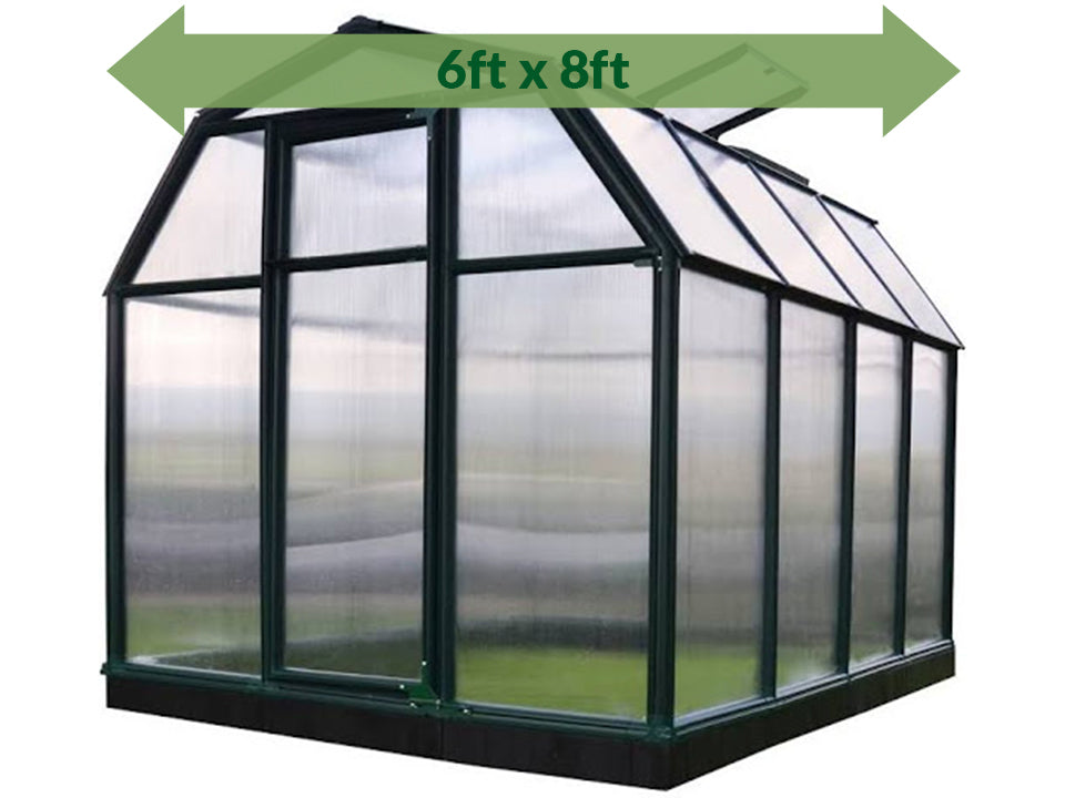 Rion 6ft x 8ft EcoGrow 2 Twin-Wall Greenhouse - HG7008 - full view - green arrow on top - white background