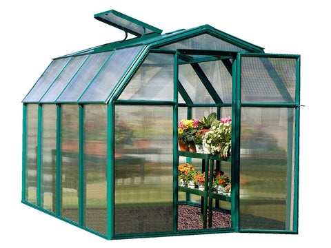 Image of Rion 6ft x 8ft EcoGrow 2 Twin-Wall Greenhouse - HG7008 - full view - open door and roof vent - white background