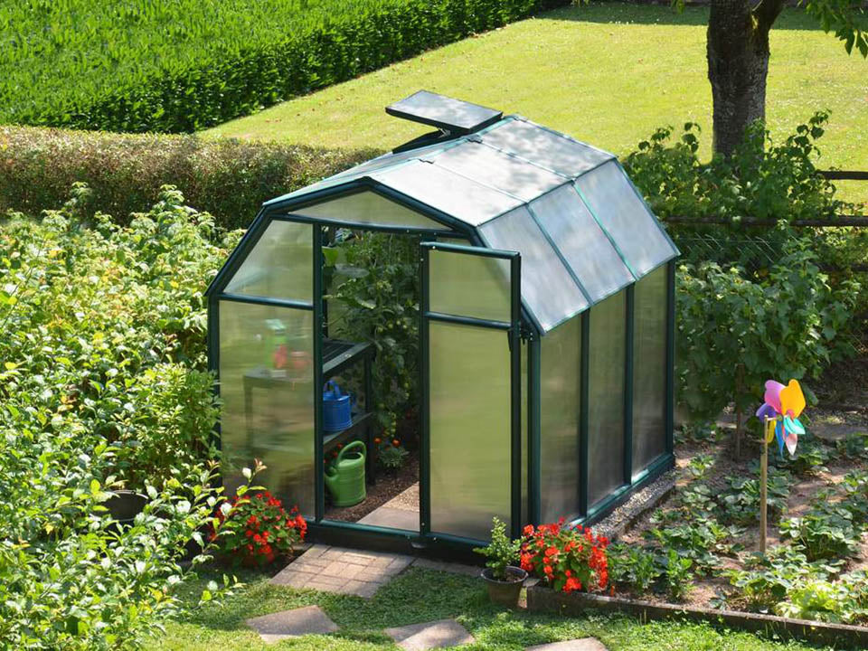 Rion 6ft x 6ft EcoGrow 2 Twin-Wall Greenhouse - HG7006 - full view - in a garden