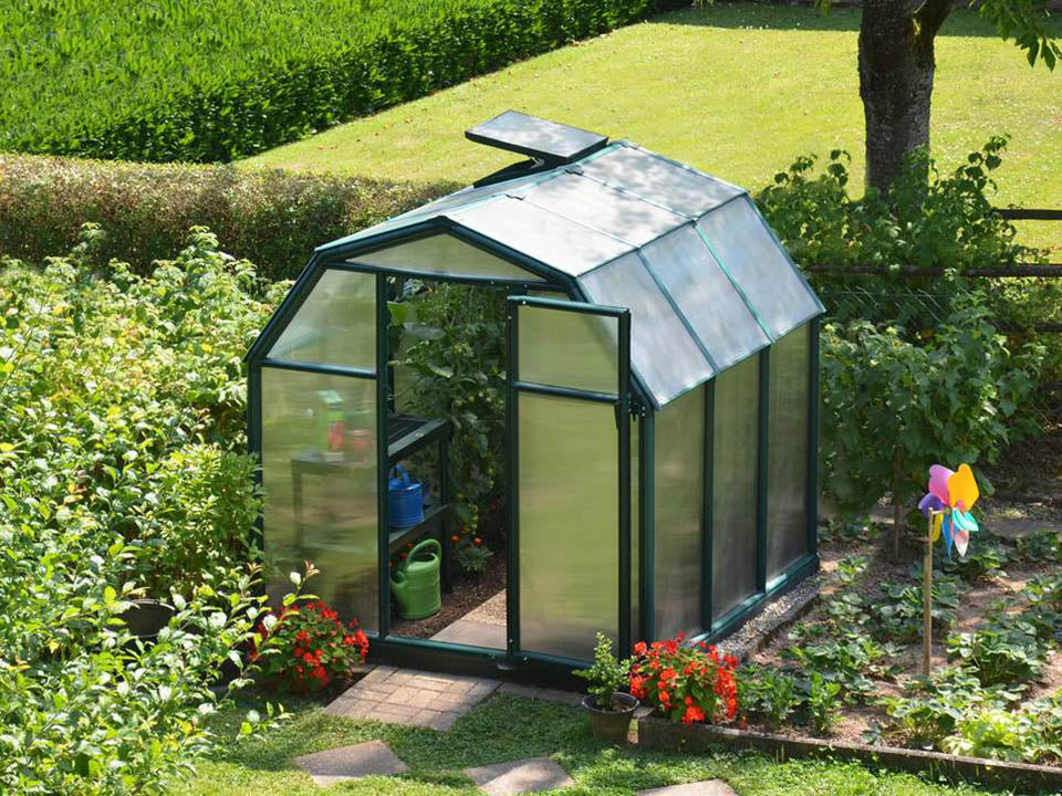 Rion 6ft x 8ft EcoGrow 2 Twin-Wall Greenhouse - HG7008 - full view - open door - in a garden
