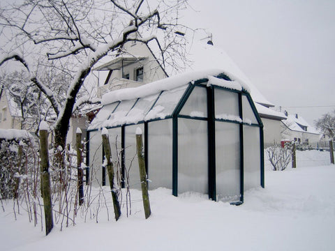 Rion 6ft x 8ft EcoGrow 2 Twin-Wall Greenhouse - HG7008 - full view - covered in snow