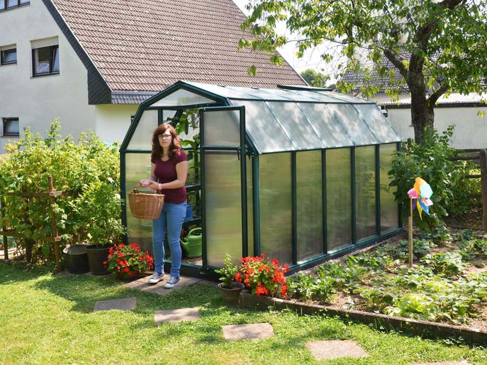 Rion 6ft x 10ft EcoGrow 2 Twin Wall Greenhouse - HG7010 - full view - in a garden