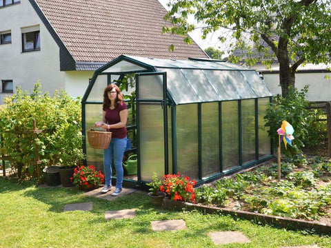 Image of Rion 6ft x 10ft EcoGrow 2 Twin Wall Greenhouse - HG7010 - full view - in a garden