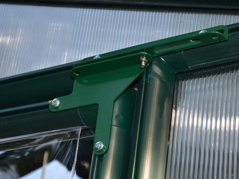 Rion 6ft x 8ft EcoGrow 2 Twin-Wall Greenhouse - HG7008 - interior close up view - Door hinges