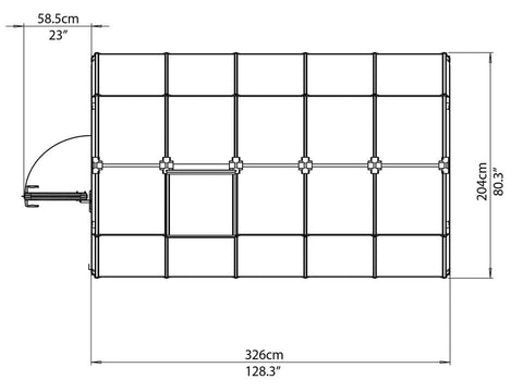 Image of Rion 6ft x 10ft EcoGrow 2 Twin Wall Greenhouse - HG7010 - top view framework with dimensions