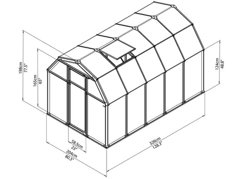 Image of Rion 6ft x 10ft EcoGrow 2 Twin Wall Greenhouse - HG7010 - full view of framework with dimensions