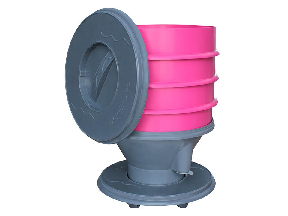 Eco Worm Composter - Pink. Open lid