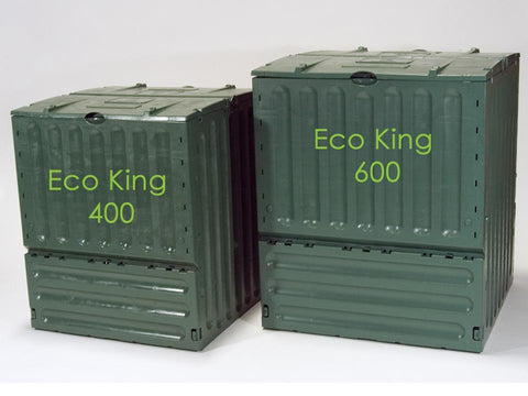 Eco King 400 & 600 Compost Bin Size Comparison Closed showing its side view