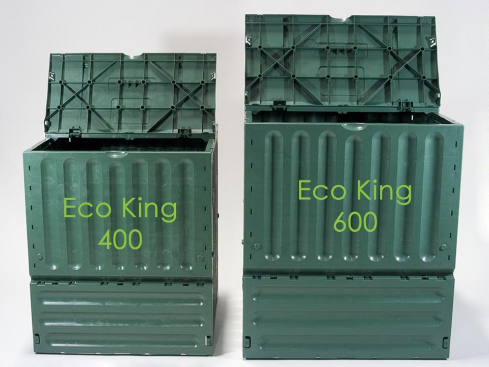 Eco King 400 & 600 Compost Bin Size Comparison Front View Open