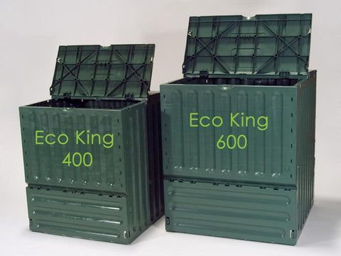 Eco King 400 & 600 Compost Bin Size Comparison Open showing its side view