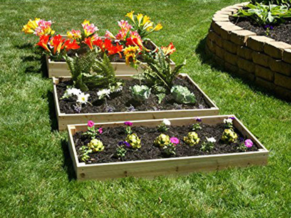 Eden Waterfall and Pyramid Raised Garden Bed in Three Separate Layers