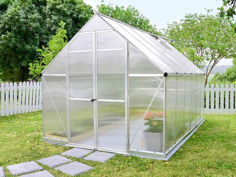 Palram Essence 8ft x 12ft Hobby Greenhouse - HG5812 - closed door - in a garden