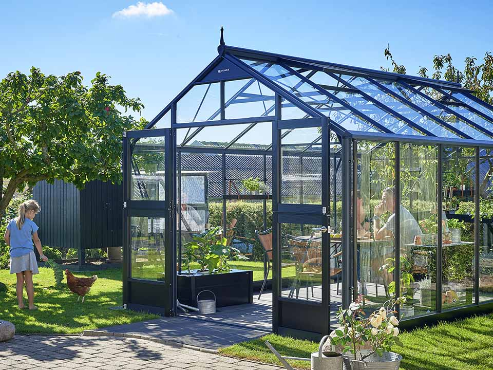 Juliana Premium Greenhouse 9ft x 14ft Anthracite 3mm safety glass Outdoor setting