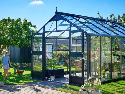 Image of Juliana Premium Greenhouse 9ft x 14ft Anthracite 3mm safety glass Outdoor setting