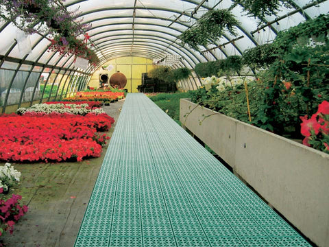 Riverstone Flooring Panels in a greenhouse