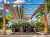 Image of Florence Aluminum Pergola with the look of Canadian Cedar  Wood Grain Finish  and a Sand Color Convertible Canopy
