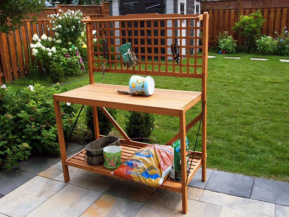 Foldable Potting Bench in the garden
