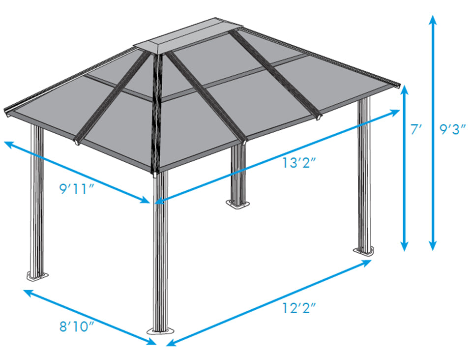 Durham 10x13 Hard Top Gazebo Dimensions