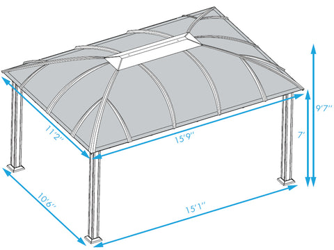 Paragon Cambridge Hard Top Gazebo 12ft x 16ft Dimensions