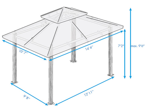 Paragon Kingsbury Soft Top Gazebo 11ft x 14ft Dimensions