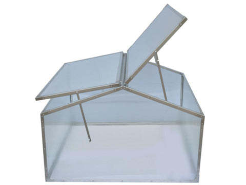 Image of Delta Park Gable Roof Cold Frame with slightly opened roof panel on the left side and fully opened roof panel on the right side
