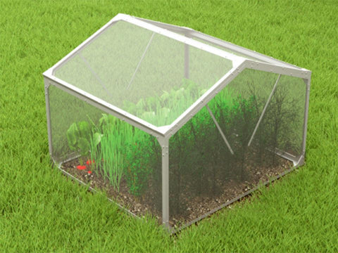 Image of Delta Park Gable Roof Cold Frame. Closed Roof Panels with plants inside