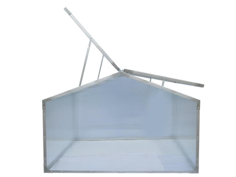 Image of Delta Park Gable Roof Cold Frame with open roof panels on the left side and slightly opened roof panel on the right side.