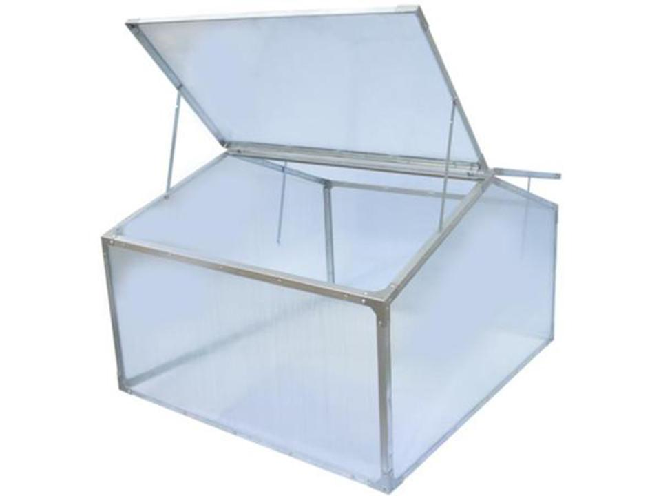 Delta Park Gable Roof Cold Frame with front roof panels fully open and slightly opened roof panel at the back