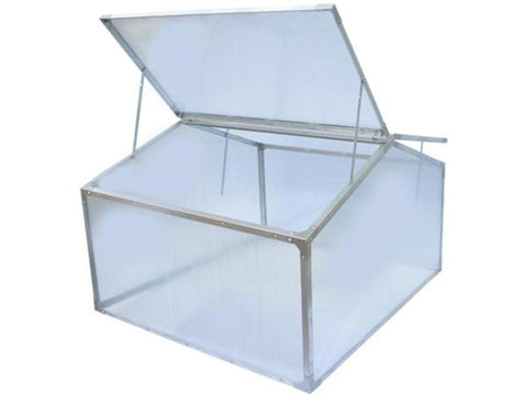 Image of Delta Park Gable Roof Cold Frame with front roof panels fully open and slightly opened roof panel at the back