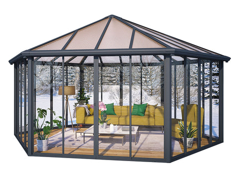 Garda Garden Pavilion with a living room set up - white background