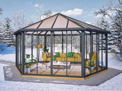 Image of Garda Garden Pavilion with a living room set up in a garden