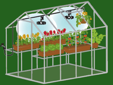 Image of A diagram of Genesis Mister Kit showing the coverage of mists inside a greenhouse