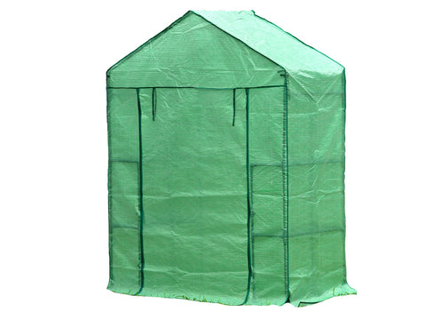 Image of Small green Genesis Portable Walk In Greenhouse with closed roll-up door and white background