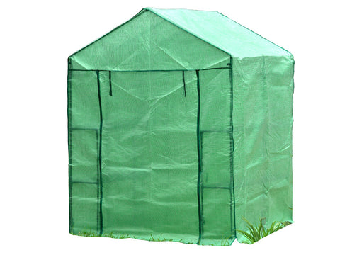 Image of Large green Genesis Portable Walk In Greenhouse with closed roll-up door and white background