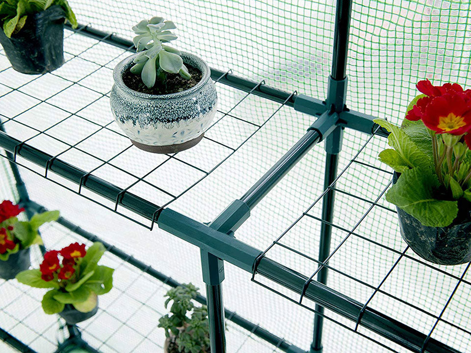 Mesh shelves inside the Genesis Portable Walk In Greenhouse