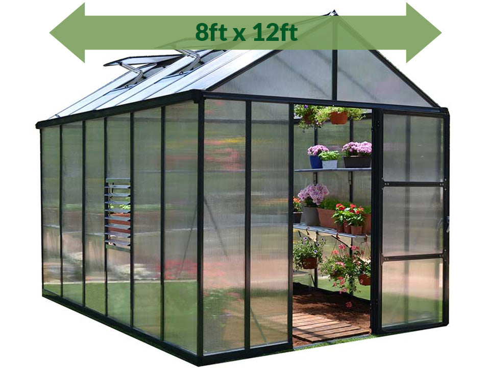 Palram Glory 8ft x 12ft Hobby Greenhouse HG5612 - full view - arrow on top - white background