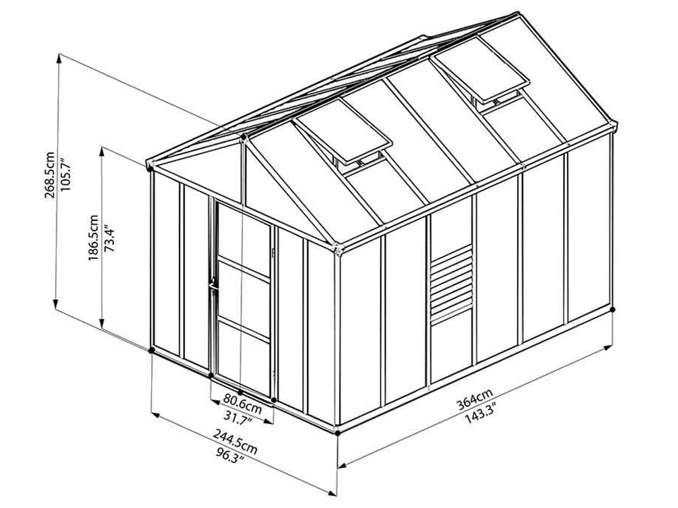 Palram Glory 8ft x 12ft Hobby Greenhouse HG5612 - full view of framework with dimensions