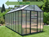 Image of Palram Glory 8ft x 16ft Hobby Greenhouse HG5616 - full view - green arrow on top - in a garden