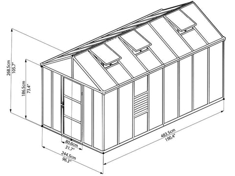 Palram Glory 8ft x 16ft Hobby Greenhouse HG5616 - full view of framework with dimensions