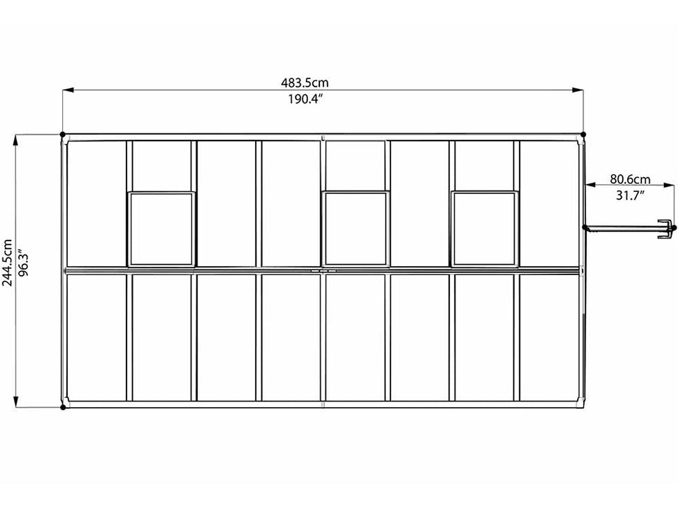 Palram Glory 8ft x 16ft Hobby Greenhouse HG5616 - top view of framework with dimensions
