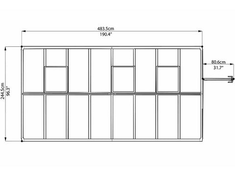 Image of Palram Glory 8ft x 16ft Hobby Greenhouse HG5616 - top view of framework with dimensions