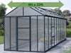Image of Palram Glory 8ft x 20ft Hobby Greenhouse HG5620 - full view - arrow on top - in a garden